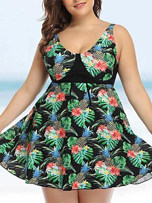 cheap Plus Size Swimwear-Women's Slim Bikini Swimwear Swimsuit Bathing Suits - Floral Black Purple XL XXL XXXL