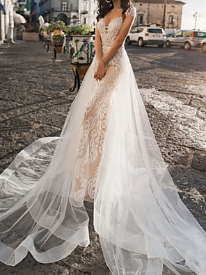 cheap Wedding Dresses-A-Line Wedding Dresses V Neck Sweep / Brush Train Tulle Short Sleeve Country Plus Size with Appliques Crystal Brooch 2020