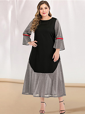 cheap Plus Size Dresses-Women's Plus Size Maxi A Line Dress - Long Sleeve Color Block Solid Color Shimmery Spring & Summer V Neck Casual Elegant Daily Going out Flare Cuff Sleeve Gray L XL XXL XXXL XXXXL