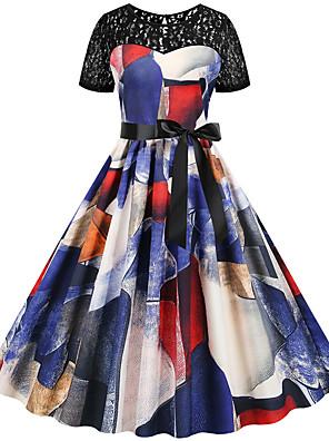 cheap Romantic Lace Dresses-Women's Sheath Dress - Half Sleeve Print Color Block Lace Patchwork Print Vintage Style Sexy Daily Going out Rainbow S M L XL XXL