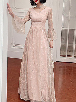 cheap Prom Dresses-A-Line Glittering Pink Party Wear Prom Dress V Neck Long Sleeve Floor Length Tulle with Sequin 2020
