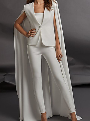 cheap Wedding Dresses-Two Piece Jumpsuits Wedding Dresses Strapless Floor Length Charmeuse Sleeveless Country Plus Size with Ruched 2020 / Yes