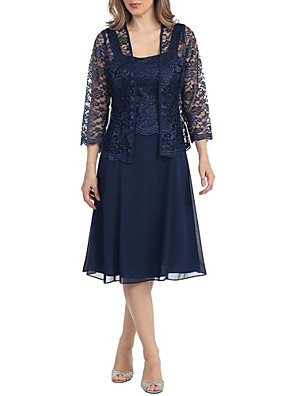 cheap Mother of the Bride Dresses-A-Line Mother of the Bride Dress Elegant Square Neck Knee Length Lace 3/4 Length Sleeve with Lace 2020