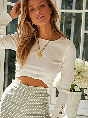 cheap Women's T-shirts-2020 SUMMER Textured Stretch Knit Ladybug Long Sleeve Sweetheart Neck Cotton Blend Crop Top