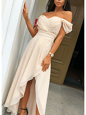 cheap Print Dresses-Women's Asymmetrical Swing Dress - Short Sleeves Polka Dot Off Shoulder V Neck Beige S M L XL