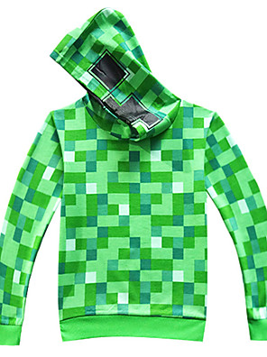 cheap Boys' Tops-Kids Boys' Basic Punk & Gothic Plaid Long Sleeve Hoodie & Sweatshirt Green
