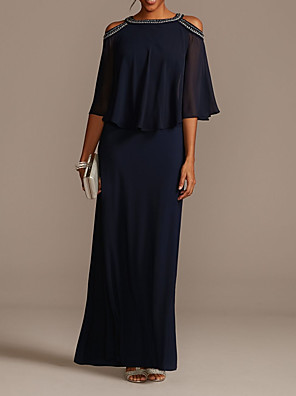 cheap Mother of the Bride Dresses-Sheath / Column Mother of the Bride Dress Elegant Jewel Neck Floor Length Chiffon Half Sleeve with Beading Sequin 2020