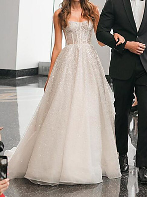 cheap Wedding Dresses-A-Line Wedding Dresses Spaghetti Strap Sweep / Brush Train Polyester Sleeveless Country Plus Size with Appliques 2020