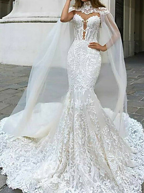 cheap Wedding Dresses-Mermaid / Trumpet Wedding Dresses V Neck Court Train Lace Sleeveless Country Plus Size with Lace Buttons Embroidery 2020