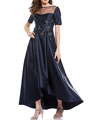 cheap Mother of the Bride Dresses-A-Line Mother of the Bride Dress Elegant Illusion Neck Asymmetrical Satin Short Sleeve with Beading Appliques 2020