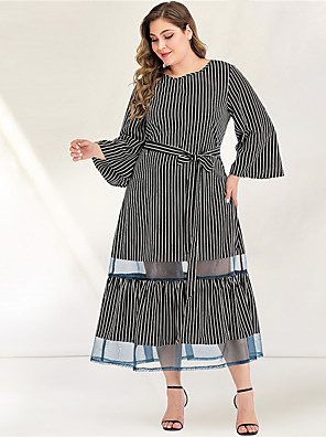 cheap Plus Size Dresses-Women's Plus Size Maxi A Line Dress - Long Sleeve Striped Pleated Mesh Patchwork Spring & Summer Fall & Winter Turtleneck Casual Elegant Daily Flare Cuff Sleeve Belt Not Included Loose Black L XL XXL