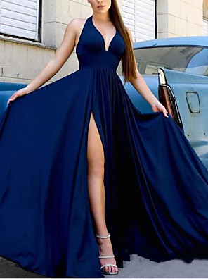 cheap Evening Dresses-A-Line Minimalist Blue Party Wear Prom Dress V Neck Sleeveless Floor Length Satin with Sleek Split 2020