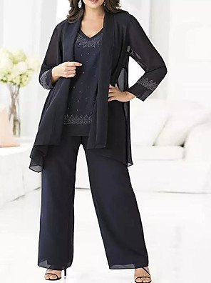 cheap Mother of the Bride Dresses-Pantsuit / Jumpsuit Mother of the Bride Dress Elegant V Neck Floor Length Chiffon Long Sleeve with Pattern / Print 2020