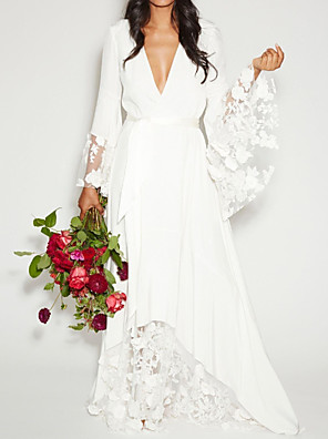 cheap Cocktail Dresses-A-Line Wedding Dresses Plunging Neck Sweep / Brush Train Polyester Long Sleeve Casual Plus Size with Sashes / Ribbons Lace Insert Appliques 2020