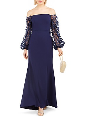 cheap Prom Dresses-Sheath / Column Mother of the Bride Dress Elegant Off Shoulder Floor Length Chiffon Lace Satin Long Sleeve with Appliques 2020