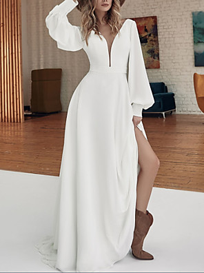 cheap Wedding Dresses-A-Line Wedding Dresses V Neck Sweep / Brush Train Floor Length Stretch Satin Long Sleeve Country Plus Size with Split Front 2020