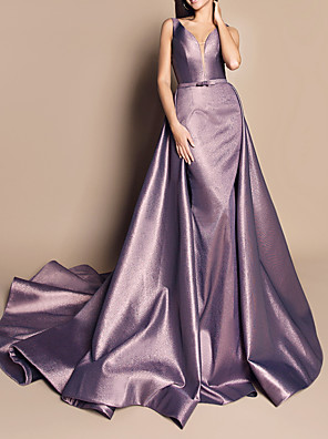 cheap Prom Dresses-A-Line Luxurious Engagement Formal Evening Dress V Neck Sleeveless Chapel Train Satin with Sash / Ribbon Overskirt 2020