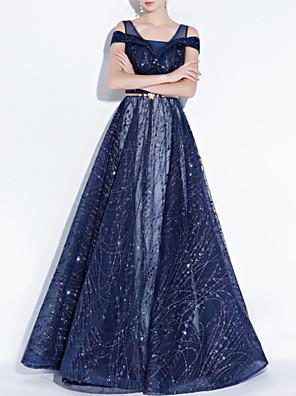 cheap Evening Dresses-A-Line Elegant Blue Engagement Formal Evening Dress Spaghetti Strap Short Sleeve Floor Length Polyester with Sash / Ribbon Sequin 2020