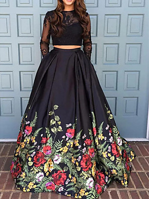 cheap Evening Dresses-Two Piece Beautiful Back Floral Engagement Formal Evening Dress Jewel Neck Long Sleeve Sweep / Brush Train Polyester with Pleats Pattern / Print 2020 / Illusion Sleeve