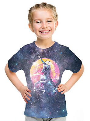 cheap Boys' Tops-Kids Girls' Active Street chic 3D Print Short Sleeve Tee Rainbow