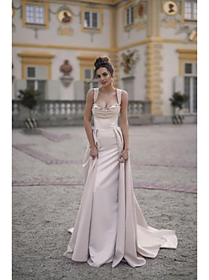 cheap Prom Dresses-A-Line Elegant Formal Evening Dress Scoop Neck Sleeveless Sweep / Brush Train Satin with Ruched 2020