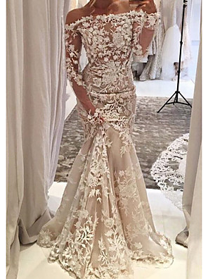 cheap Wedding Dresses-Mermaid / Trumpet Wedding Dresses Off Shoulder Sweep / Brush Train Tulle Long Sleeve Country Plus Size with Lace Appliques 2020