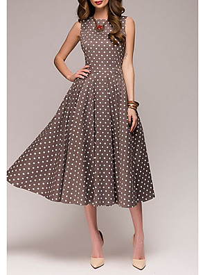 cheap Evening Dresses-Women's Plus Size A Line Dress - Sleeveless Polka Dot Summer 1950s Elegant Party / Cocktail 2020 Red Green Brown S M L XL XXL XXXL XXXXL