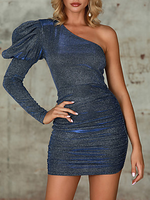 cheap Women's Dresses-Womens One Shoulder Dresses Sequin Bodycon Wrap Tube Mini Dress MM0212