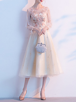 cheap Cocktail Dresses-A-Line Glittering Floral Homecoming Cocktail Party Dress Jewel Neck Long Sleeve Tea Length Tulle with Appliques 2020 / Illusion Sleeve