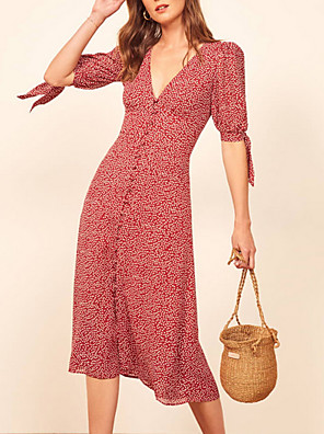 cheap Prom Dresses-Women's Sheath Dress - Half Sleeve Floral V Neck Slim Red S M L XL
