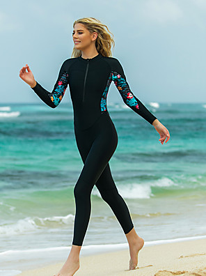 cheap Wetsuits, Diving Suits & Rash Guard Shirts-SBART Women's Rash Guard Dive Skin Suit Patchwork Padded Sun Shirt Bodysuit Swimwear Black UV Sun Protection Breathable Quick Dry Long Sleeve - Swimming Surfing Snorkeling Autumn / Fall Spring