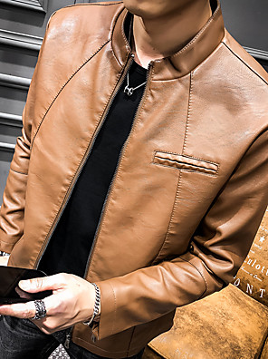 cheap Men's Jackets & Coats-Men's Going out / Club Basic / Punk & Gothic Fall & Winter Regular Leather Jacket, Solid Colored Stand Long Sleeve PU Patchwork Wine / Camel / Khaki