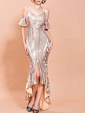 cheap Evening Dresses-Mermaid / Trumpet Glittering Sexy Wedding Guest Formal Evening Dress Spaghetti Strap Half Sleeve Asymmetrical Polyester with Sequin Split 2020