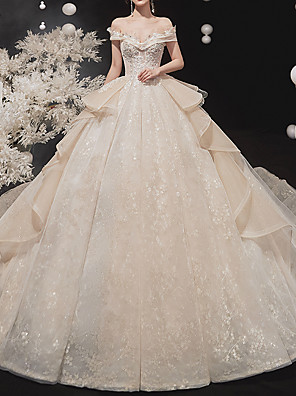 cheap Wedding Dresses-Ball Gown Wedding Dresses Off Shoulder Watteau Train Lace Tulle Short Sleeve Formal Wedding Dress in Color with Cascading Ruffles 2020