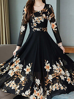 cheap Maxi Dresses-Women's Swing Dress Maxi long Dress - Long Sleeve Geometric Elegant Black Red Green M L XL XXL XXXL XXXXL