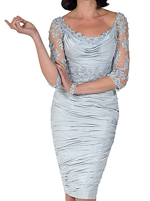 cheap Evening Dresses-Sheath / Column Mother of the Bride Dress Elegant Bateau Neck Knee Length Lace Taffeta 3/4 Length Sleeve with Beading Ruffles Draping 2020