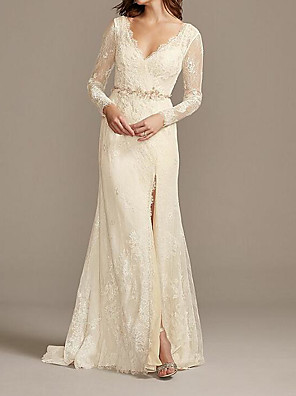 cheap Wedding Dresses-A-Line Wedding Dresses V Neck Floor Length Lace Satin Long Sleeve Country Plus Size with Lace Sashes / Ribbons Embroidery 2020 / Split Front