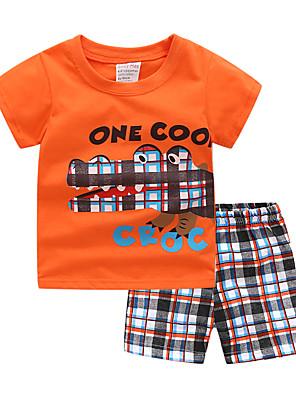 cheap Boys' Clothing Sets-Kids Toddler Boys' Active Basic Casual / Daily Athleisure Dinosaur Cartoon Print Short Sleeve Regular Clothing Set White