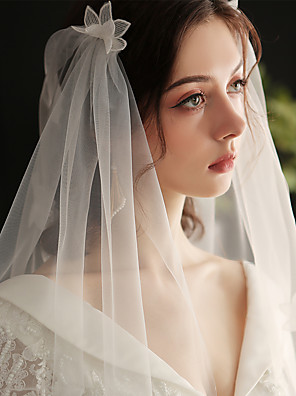 cheap Wedding Veils-One-tier Sweet Wedding Veil Elbow Veils with Scattered Bead Floral Motif Style / Solid Tulle