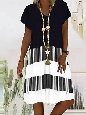 cheap Summer Dresses-Women's Knee Length Dress - Short Sleeves Striped Color Block Print V Neck Casual Holiday Vacation Black Orange S M L XL XXL XXXL XXXXL XXXXXL