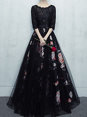 cheap Prom Dresses-Ball Gown Floral Black Quinceanera Prom Dress Scalloped Neckline Half Sleeve Floor Length Polyester with Pattern / Print 2020