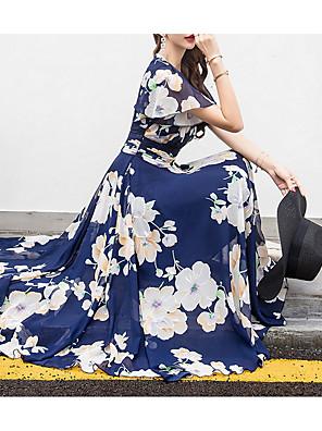 cheap Bridesmaid Dresses-Women's Maxi Swing Dress - Short Sleeves Floral V Neck Fuchsia Royal Blue Beige M L XL XXL XXXL XXXXL XXXXXL