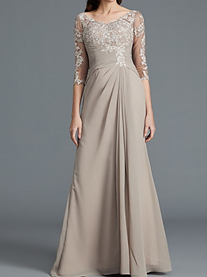 cheap Mother of the Bride Dresses-A-Line Mother of the Bride Dress Elegant Scoop Neck Floor Length Chiffon Lace 3/4 Length Sleeve with Lace Pleats Appliques 2020