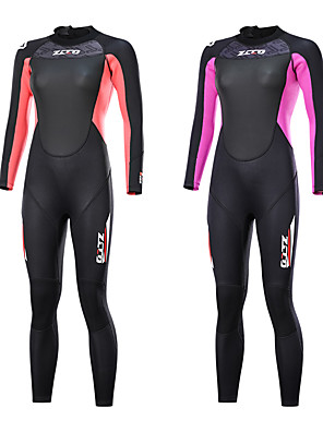 cheap Wetsuits, Diving Suits & Rash Guard Shirts-ZCCO Women's Full Wetsuit 3mm SCR Neoprene Diving Suit Long Sleeve Back Zip Knee Pads Solid Colored Autumn / Fall Spring Summer / Winter / Stretchy