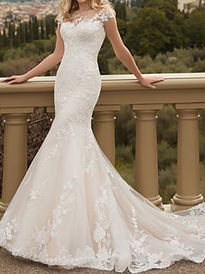 cheap Wedding Dresses-Mermaid / Trumpet Wedding Dresses Jewel Neck Sweep / Brush Train Lace Tulle Short Sleeve Country Plus Size with Lace Embroidery 2020