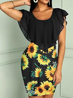 cheap Mini Dresses-Women's Mini Sheath Dress - Short Sleeves Print Slim White Black Red Yellow Blushing Pink Dusty Blue Light gray S M L XL XXL XXXL