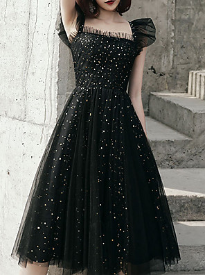 cheap Wedding Dresses-A-Line Square Neck Knee Length Polyester Bridesmaid Dress with Sequin