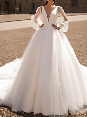 cheap Wedding Dresses-A-Line Wedding Dresses Plunging Neck Court Train Tulle Chiffon Over Satin Long Sleeve Formal Plus Size Illusion Sleeve with Draping 2020