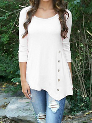cheap Women's Blouses-Women's Solid Colored T-shirt - Cotton Basic Daily White / Black / Blushing Pink / Gray / Light Blue