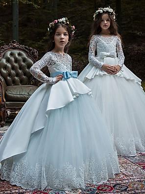 お買い得  女児 ドレス-ボールガウン コートトレーン パーティー / 誕生日 フラワーガールドレス - POLY 長袖 ジュエル とともに レース / リボン / アップリケ